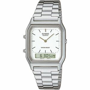 Casio Classic White Analog Dial Silver Bracelet Alarm Watch AQ-230A-7DMQYES