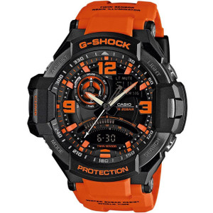 G-Shock Aviator Black Dial Orange Strap Chronograph Premium Watch With Digital Compass And Thermometer GA-1000-4AER