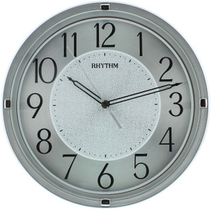 Rhythm Easy To Read Silver Tone Wall Clock With Black Accents CMG518NR19