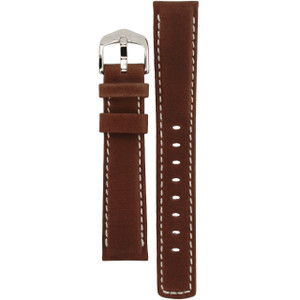 Hirsch Mariner Replacement Watch Strap Brown Genuine Textured Leather 18mm