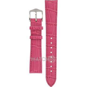 Hirsch Louisianalook Replacement Watch Strap Pink Alligator Embossed Leather 16mm With Free Connecting Pins
