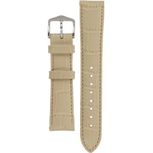 Hirsch Louisianalook Replacement Watch Strap Beige Alligator Embossed Leather 18mm