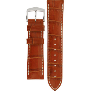 Hirsch Modena Replacement Watch Strap Golden Brown Alligator Embossed Leather 22mm