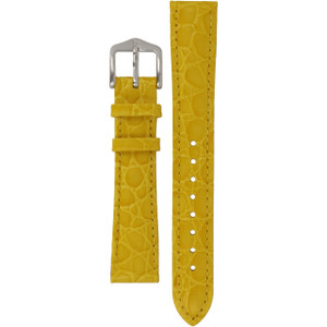 Hirsch Crocograin Replacement Watch Strap Yellow Crocodile Embossed Leather 16mm