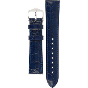 Hirsch Crocograin Replacement Watch Strap Blue Crocodile Embossed Leather 18mm