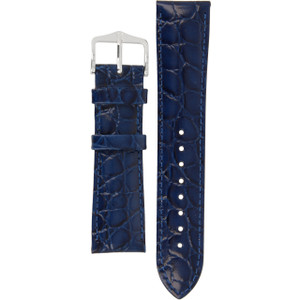 Hirsch Crocograin Replacement Watch Strap Blue Crocodile Embossed Leather 20mm