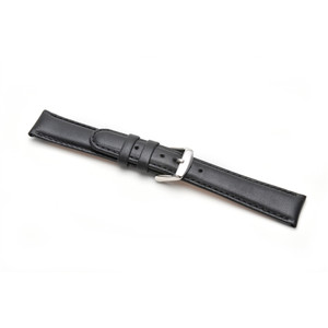 Replacement 16mm Black Padded Calf Leather Strap