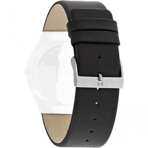 Skagen Replacement Watch Strap Black Leather 24mm For SKW6039 With Free Connecting Screws