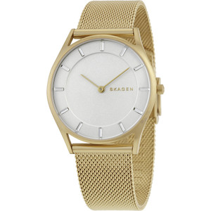 Skagen Ladies Holst Silver Dial Gold Tone Mesh Bracelet Watch SKW2377