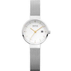 Bering Ladies Solar Powered White Dial Mesh Bracelet 26mm Watch 14426-001