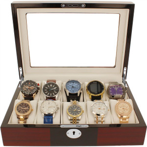 Orbit Watch Box For Men Red And Black Wood Finish With Lock Fits 10 Watches OW177
