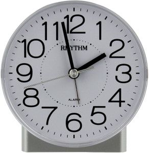 Rhythm Easy To Read Silver Alarm Clock With Black Accents CRE855NR03