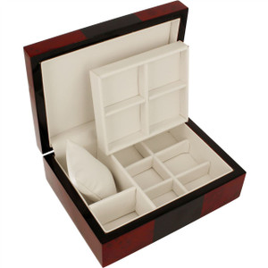 Orbit Cufflink Box Red And Black Wood Finish