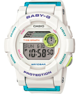 White Baby-G Ladies Tide Graph Chronograph Watch BGD-180FB-7ER