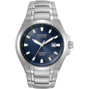 Citizen Men's Eco-Drive Sapphire Glass Blue Dial Titanium Watch BM7170-53L