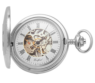 Woodford Mechanical Skeleton Pocket Watch For Men Silver With Chain 1020 With Free Engraving