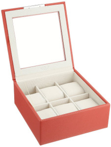 Wolf Stackable Watchbox For Up To 6 Watches In Coral