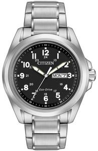 Citizen Men's Eco-Drive Black Sport Silver Bracelet Watch AW0050-82E