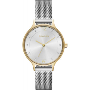 Skagen Ladies Anita Two-Tone Mesh Watch With Crystal Accents SKW2340