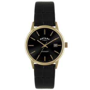 Rotary Avenger Mens Rose Gold Tone Watch With Black Leather Strap GS02877/04