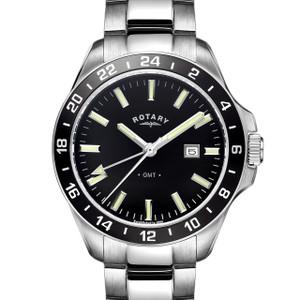 Rotary Havana Mens Black Dial Stainless Steel Watch GB05017/04