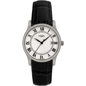 Rotary Men's Classic Black Leather Strap Watch GSI0792/21