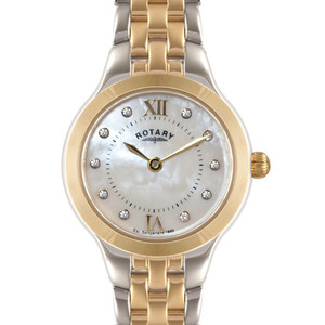 Rotary Mother Of Pearl Crystals Two-Tone Ladies Watch LB02761/41