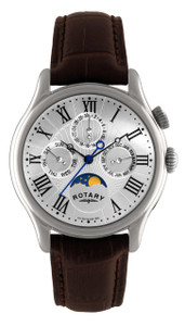 Rotary Mens Moonphase Silver Watch with Brown Leather Strap GS02838/01