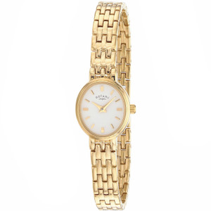 Rotary Ladies Gold Bracelet White Oval Dial Watch LB02084/02