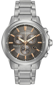 Citizen Eco Drive Titanium Chronograph Grey Dial Watch AT2340-56H