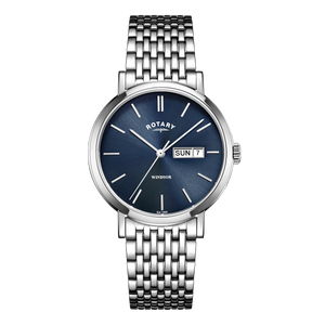 Rotary Mens Windsor Blue Dial Silver Watch With Day Display GB05300/05