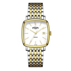 Rotary Mens Windsor Silver Gold Cushion Square Dial Watch GB05306/01