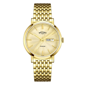 Rotary Mens Windsor Gold Dial Watch With Date Display GB05303/03