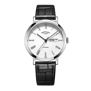 Rotary Mens Windsor White Dial Black Leather Strap Watch GS05300/01