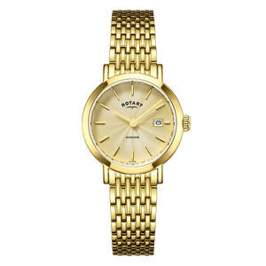 Rotary Ladies Windsor White Dial Gold Bracelet Watch LB05303/03