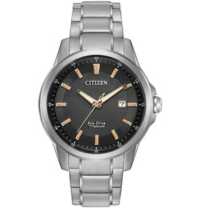 Citizen Men's Eco-Drive Titanium Black Dial Silver Watch AW1490-50E