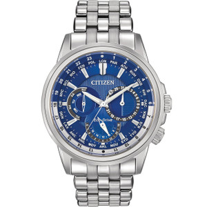 Citizen Mens Eco-Drive Calendrier Blue Dial Silver Watch BU2021-51L