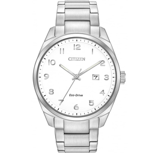 Citizen Mens Eco-Drive White Dial Gold Bracelet Watch BM7320-87B