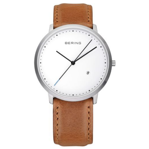Bering Classic Mens White Dial Brown Leather Strap Watch 11139-504