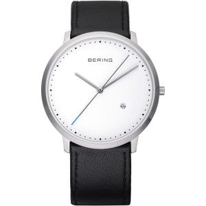 Bering Classic Mens Minimal White Dial Black Leather Watch 11139-404