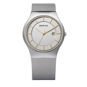 Bering Classic Mesh Bracelet Brushed Steel Gold Tone Watch 11938-001