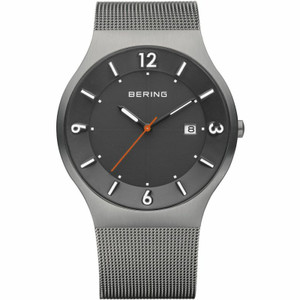 Bering Solar Powered Mens Black Dial Bracelet Watch 14440-077