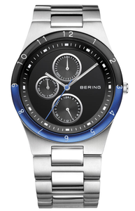 Bering Ceramic Blue Highlight Day Display Black Dial Watch 32339-702