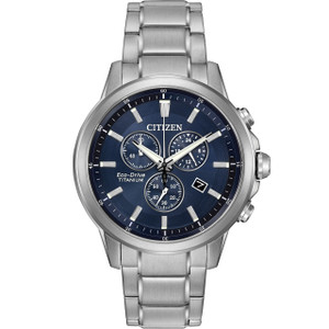 Citizen Eco Drive Titanium Chronograph Blue Dial Watch AT2340-56L