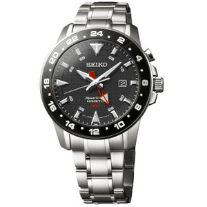 Seiko Sportura Kinetic Mens Black Dial Ceramic Watch SUN015P1