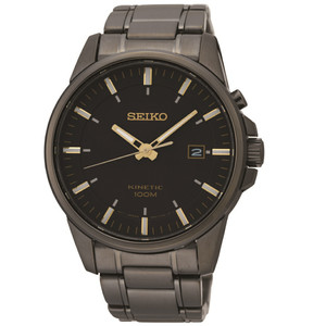 Seiko Kinetic Powere Black And Gold Watch SKA531P1