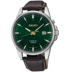 Seiko Kinetic Powered Green Dial Leather Strap Watch SKA533P1