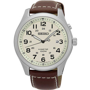Seiko Kinetic Powered Leather Strap Watch With SKA723P1