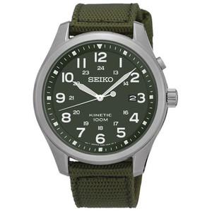 Seiko Kinetic Military Style Green Canvas Strap Watch SKA725P1