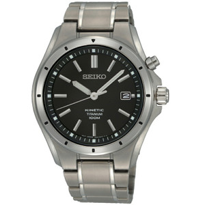 Seiko Kinetic Powered Titanium Black Dial Casual Watch SKA493P1
